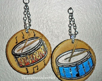 snare drums art, drummer gifts, drum scrore, wood burning on wood slices, drum art, musical gifts, flame drums, drummer art, drum sticks