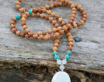 White Jade Sandalwood Mala- Heart Chakra - Meditation Inspired Yoga Beads BOHO chic / mala beads