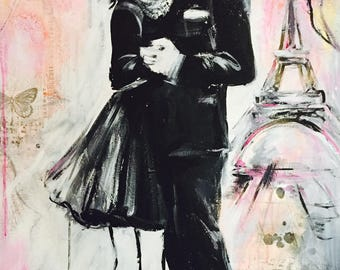 Romantic Bliss Original Painting, Dancing Couple, Love Series of Wanderlust by Lana Moes, Original Art, Paris Home Decor, Ready to Hang