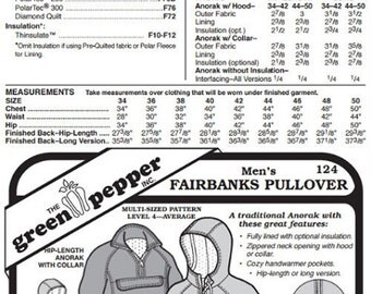 Men's Fairbanks Pullover Coat Jacket #124 Sewing Pattern (Pattern Only) gp124