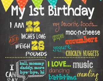 First Birthday Milestone Chalkboard - Digital File