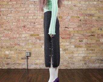 studded sweater skirt / knit midi skirt / heather grey skirt / 90s minimalist / column skirt / thigh high slit / causal skirt / mid length
