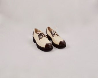 ROBERT CLERGERIE flatforms / 7 - 37.5 / womens oxford / spectator / flatform loafer / leather loafer / menswear inspired / avant garde