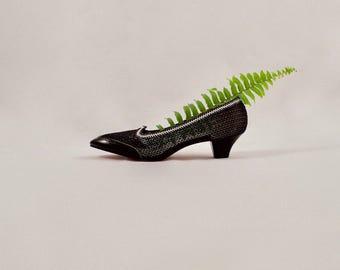 woven low heel pumps / black straw heels / mesh heels / see through pumps / 7 - 37.5 / 80s heels / low heels  / woven heels
