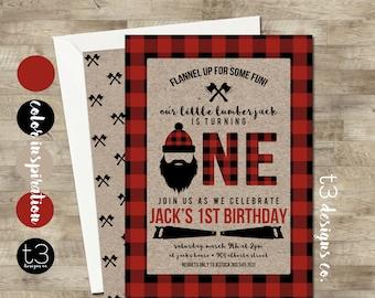 Lumberjack First Birthday Invitation, Lumberjack birthday invitation, Lumberjack Birthday Invite, Buffalo Plaid Invite, Wilderness, T11