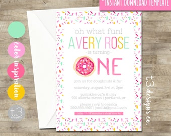 Instant Download Donut birthday invitation, girl birthday invitation, DIY PDF, doughnut party, girl birthday invite, girl first birthday T19