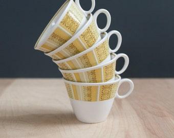 1960s Tea Cups - Franciscan Whitestone Ware in Antigua Pattern Coffee Mugs with yellow tiki design - Set of 5 - Set of 6 mid century ceramic