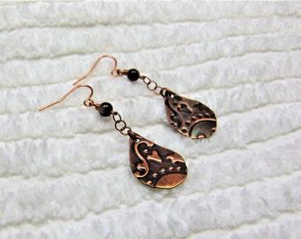 Copper Earrings, Handmade Earrings, Rustic Copper Earrings, Stamped Copper Earrings, Teardrop Dangle Earrings, Chain Earrings