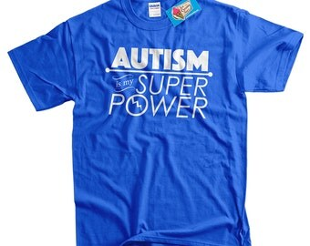 Autism T-Shirt Autism Is My Super Power T-Shirt Tee Shirt T Shirt Mens Ladies Womens Kids Youth ASD Spectrum Support Blue Puzzle Piece
