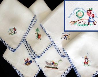 Set 6 Vintage Napkins Hand Embroidered Linen Tropical Scenes