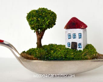 Miniature House English landscape in a spoon: wedding gift, new home gift, seaside, trees sculpture, lake scene, whimsical, keepsake, quirky