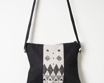 Day bag, Field Bag, Travel Bag, Screen printed Bag, Denim Bag