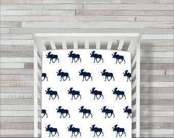 Crib Sheet, Boy, Fitted,  Navy Moose, Navy, White, Woodland, Crib Bedding, Baby Bedding, Children