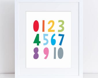 Numbers Nursery Art, Alphabet Numbers  Printable, Colourful Numbers, 123 Poster, Counting Kids Room, Toddler Print, Toddler Room Art Print