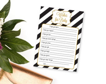 Wishes for Baby Cards, Printable Baby Shower Game, Wishes for Baby Printable, Black and Gold Baby Shower, Baby Wishes Printable, Baby Games