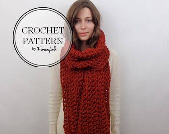Crochet Pattern | Giant Chunky Crochet Scarf | THE ATHENS Instant Download