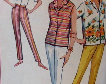Vintage 1964  Simplicity Sewing Pattern #5436  Misses' Blouse  and Slacks  Size 16 Bust Size 36