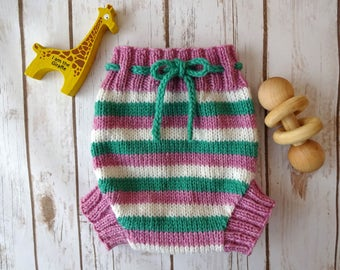 MEDIUM Handmade Knit Wool Cloth Diaper Cover, Tall Rise, Pink White Teal Stripes, Striped, Wool Soaker, Cloth Diapering, 100% Peruvian Wool