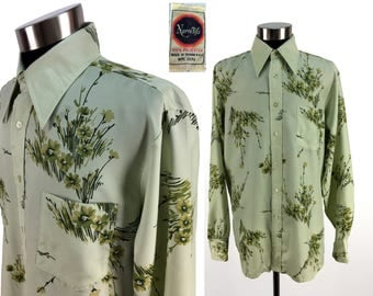 Vintage 70s Floral Patterned Polyester Button-Down Pocket Shirt by Narratifs LARGE // 1970s // Disco Era // Long Pointy Collar // Mens // L