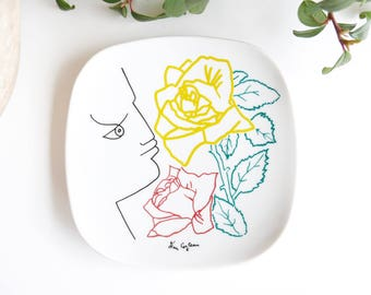 Dish, small plate, decors by JEAN COCTEAU Promo Ceram, French porcelain, Art Editions / ring dish, soap dish bathroom