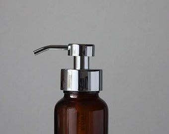 Apothecary Amber Glass Foaming Soap Dispenser with Chrome Metal Pump