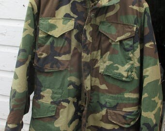 US Army or Marine Corps Camouflage Field Jacket Cold Weather Man's Coat & Liner Small Regular