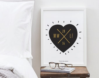 A4 Personalised Initials Heart Print - Valentine's Day print