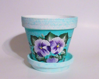 Purple Pansies Turquoise and White Flowerpot, 6 Inch Hand-painted Terra Cotta Planter, Painted Plant Holder, Pansy Patio Garden Decor