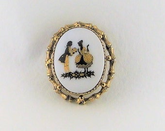 Gold Tone Milk Glass Brooch Vintage Pendant Costume Jewelry Painted Victorian Days