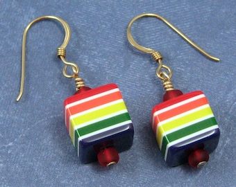 Rainbow Striped Cube Earrings on Gold Filled Ear Wires, Multicolored Jewelry, Multi-striped Jewelry, Rainbow Striped Earrings, Cube Earrings