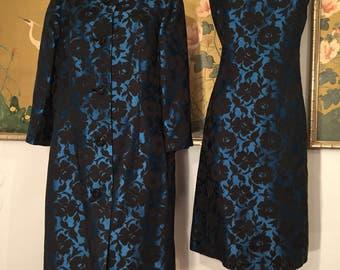 1950s 60s Deep Blue Sheath Dress and Matching Coat by Nat Kaplan New York for Bullocks Pasadena -- Rich Colors and Bold Design!