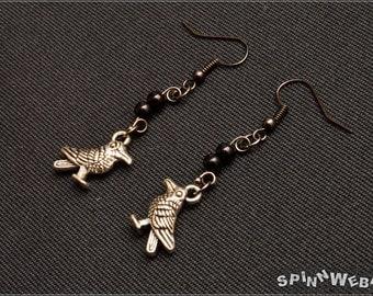New! Raven Earrings - Charm Raven, Fantasy, Fairytales, Czech Beads, silber, gunmetal, black, metal, handmade