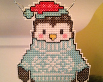 New Penguin in Sweater Cross Stitch Christmas Ornament