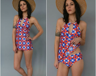 1960s two piece bathing suit
