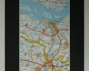 Map of Terneuzen, Western Scheldt River Decor, Available Framed, Dutch Art, Westerschelde Picture, Netherlands Print, Zelzate Gift, Assenede