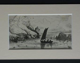1886 Antique Barra Head Print, Scotland Gift, Berneray Decor, Available Framed, Scottish Art, Outer Hebrides Picture Barra Isles Archipelago