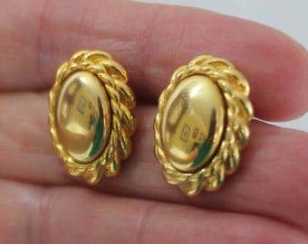 Gold Tone Button Pierced Earrings