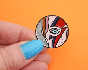 David Bowie makeup, enamel pin - lightning bolt - ziggy stardust - alladinsane - glitter pin - glam rock - pop music pin - badge - lapel pin