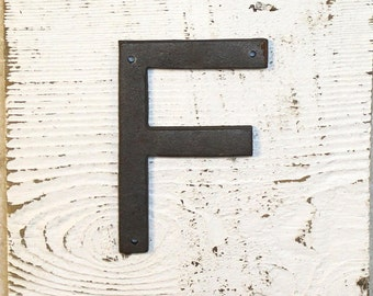 F - 5 Inch Cast Iron Metal Letter F - WITH DRILL HOLES for Mounting