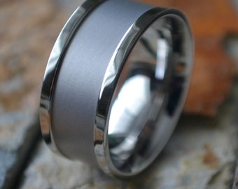 Mens Wide Silver Stainless Steel Comfort Fit Mans Womens Personalized Wedding Band - 10MM Ring ( FREE ENGRAVING ) AZ83