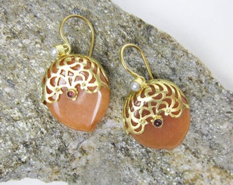 Carnelian Lotus Earrings Vintage Sterling Silver Filigree Lace w. Gold Wash, Garnet & Pearl French Backs, Early 1990s.