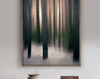 """Abstract Tree Art - brown tree wall art 8x10 photo forest wall art copper 11x14 snowy forest 20x30 large abstract art 16x20 - """"Winter Woods"""""""