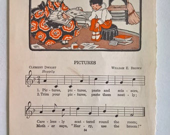 Antique Pictures Sheet Music Children's Nursery Rhyme Print --- Katherine G. Healey --- Vintage Art Wall Home Decor --- Musical Baby Room
