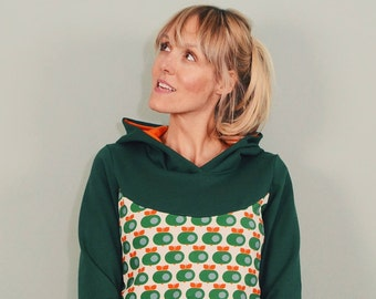 "Hoodie ""APPLE SMOOTH"" green sweater retro ladies"