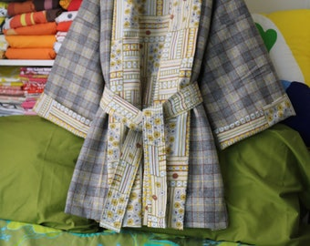 Wool Kimono, Upcycled Vintage , Plus Size Clothing, Grey Plaid, Yellow Flowers, Fully Lined Winter Robe, Rustic Autumn, Artisan Handmade