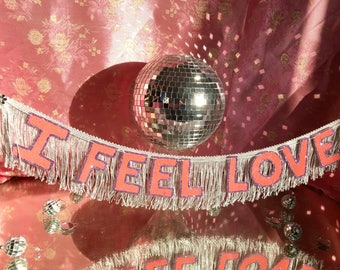 I Feel Love FUN CULT Fringe Banner | wall hanging banner, party decor, wedding banner, engagement party banner, fringe wall art, disco party