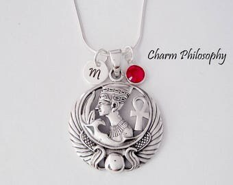 Nefertiti Necklace - Egyptian Queen Jewelry - Egyptian Ankh Charm - Personalized 925 Sterling Silver Jewellery