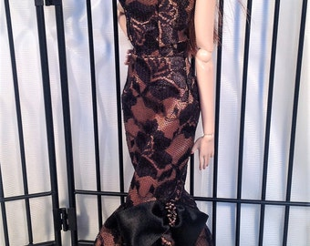 LOVE MY LACE, fully lined blacK lace over light brown satin. Simply beautiful. Made for Fashion Royalty dolls.