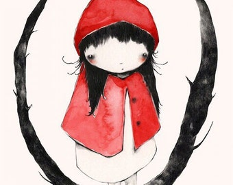 Little Red Riding Hood: Cute storybook graphite and watercolor illustration, 5 x 7 inch print.