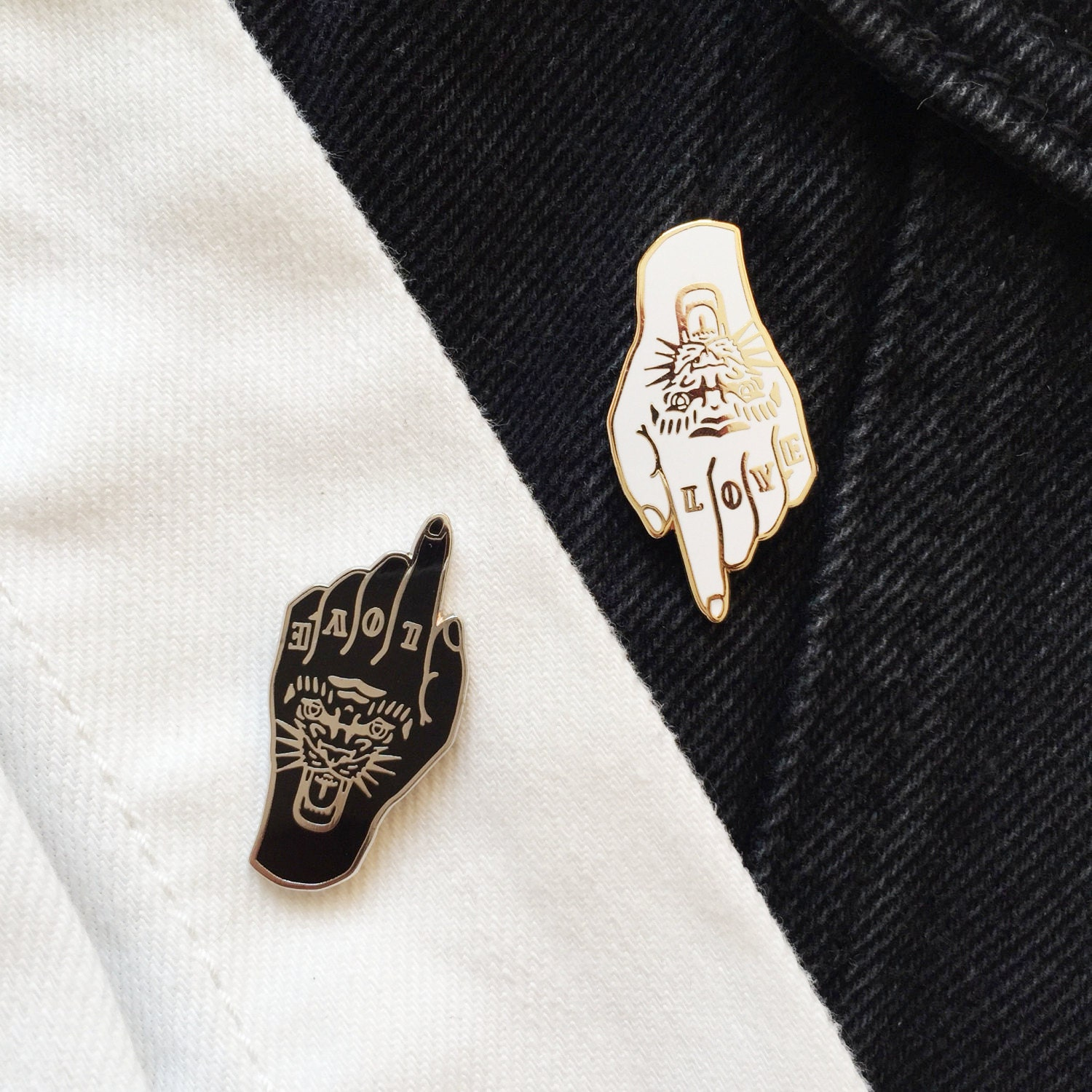 Pin By Gagan Sampla On Page Tattoo: Tiger Love Tattoo Hand Enamel Pin Badge Lapel Pin Black Silver
